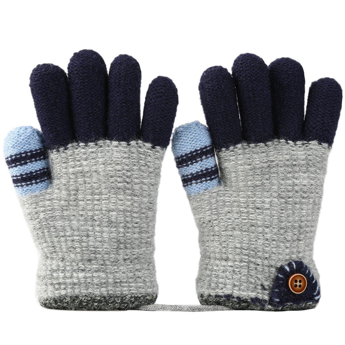 VBG VBIGER Kids Winter Gloves Girls Boys Warm Knitted Gloves Fleece Lined Full Finger Gloves for Children 4-6 Years Old Color 1)
