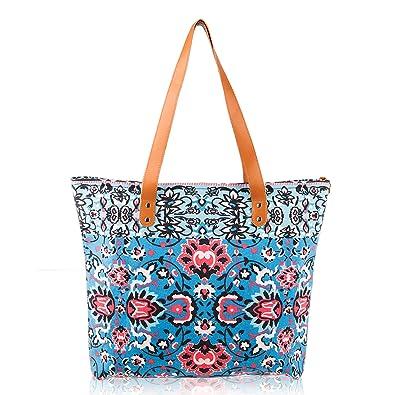 86341cc31e15 DEMOMENT Canvas Tote Bag Multi Pockets Large Shoulder Bag for  Women,Teacher,Nurse,Soccer Mom,Water Resistance Wipe Clean