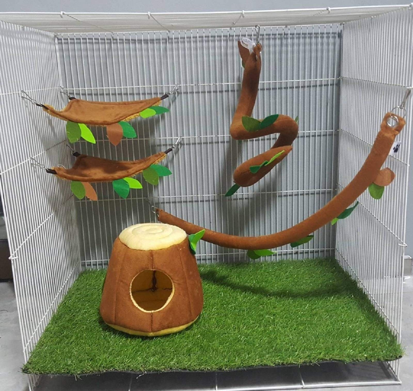 5 Pcs Sugar Glider Hamster Squirrel Chinchillas Small Pet Cage Set Vertical Log Forest Pattern Get Free 1 Small Pet Treats, Polar Bear's Republic (Light Brown Set) by Polar Bear's Pet Shop