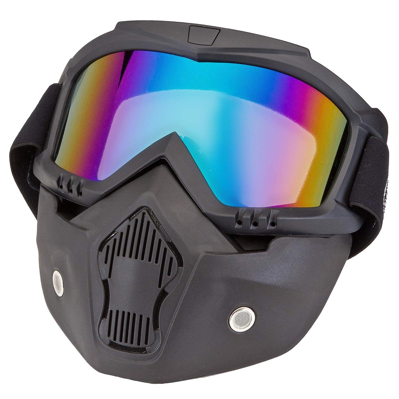 schwarz mit blau-verspiegeltem Glas PiWear Motorradbrille Invase mit abnehmbarer Maske