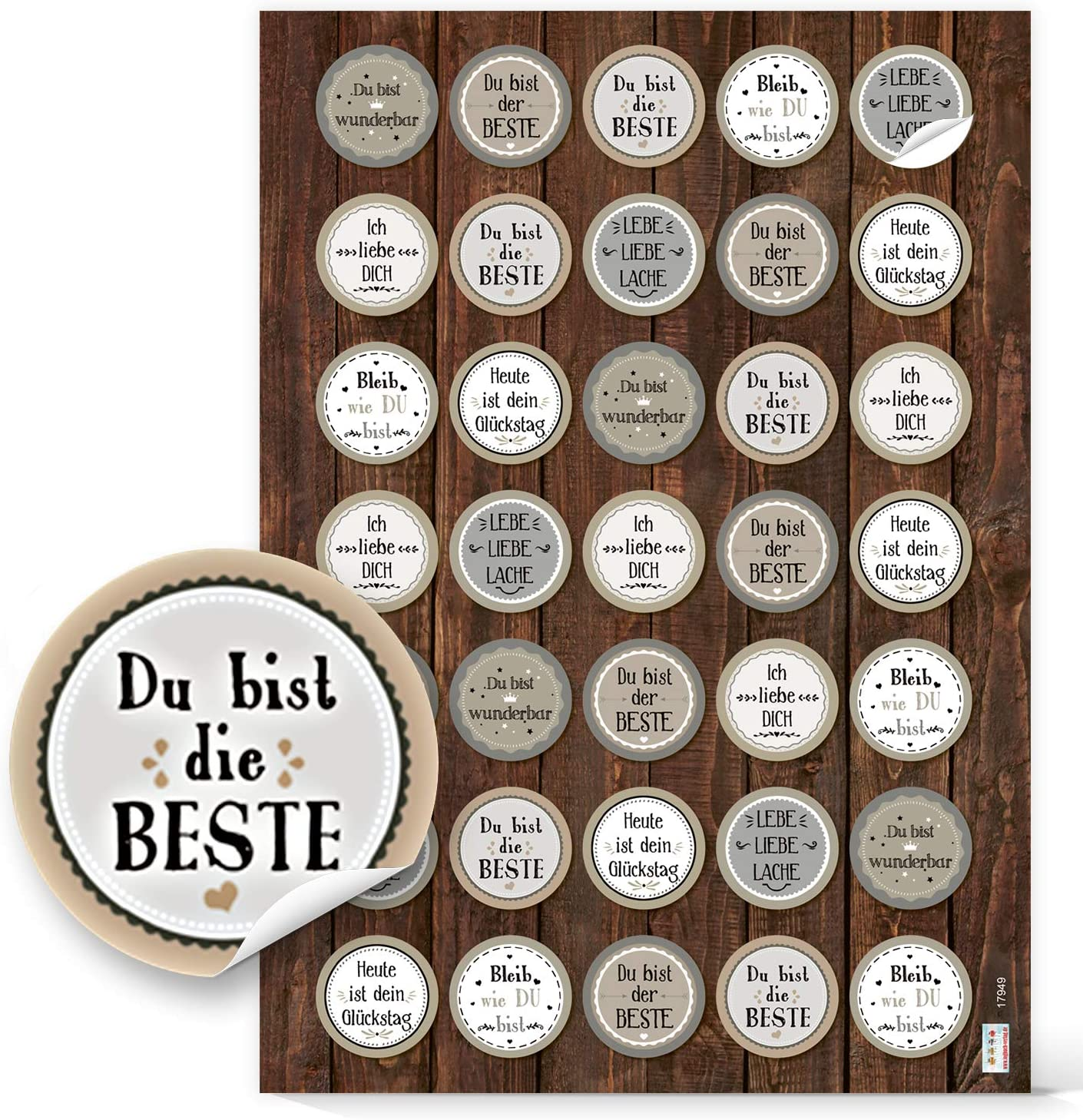 Geschenkaufkleber Mix Verzierung Verpackung Logbuch-Verlag Aufkleber SET schwarz wei/ß gr/ün Spr/ücheaufkleber Viel Gl/ück Danke Motivation