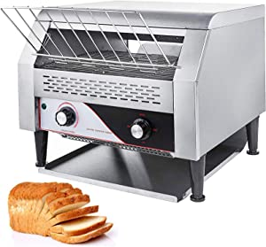 VBENLEM 2600W Commercial 450PCS/Hour Heavy Duty Stainless Steel Conveyor Bread Toaster for Restaurant Bakery, 450PCS/H, Silver