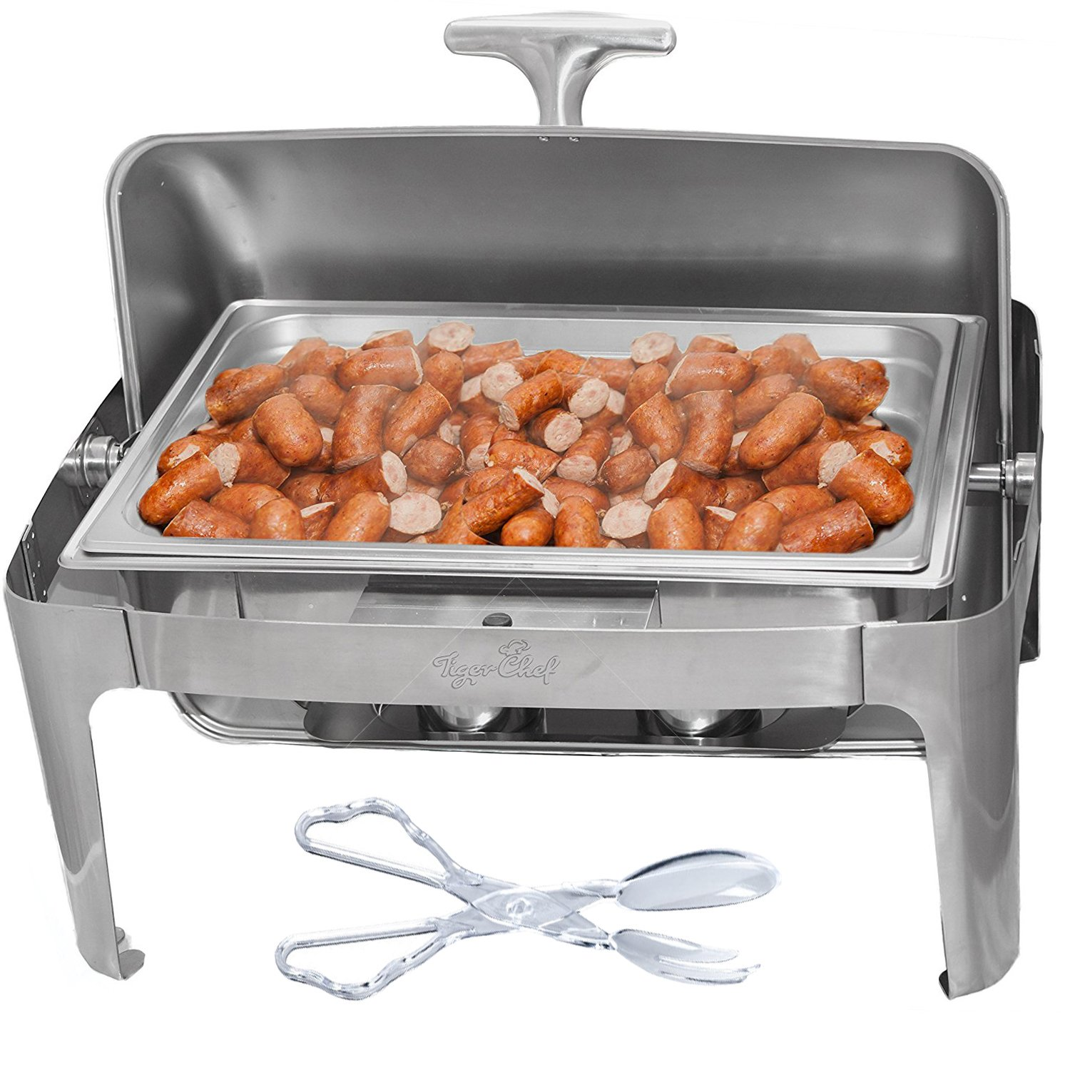 Tiger Chef Stainless Steel Chafer with Roll Top, 8 Quart Chafing Dish Set with Plastic Serving Tong