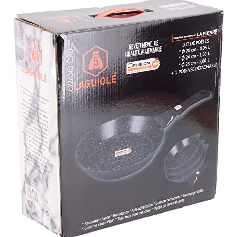 - Juego de 3 sartenes negras Grand Cru mango desmontable 20 - 24 - 28 cm - Laguiole calidad Pro: Amazon.es: Hogar