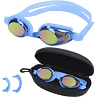 BEZZEE PRO Kinderzwembril - UV-bestendige lekvrije spiegelbril - gekleurde lens met opbergkoffer en 3 verwisselbare…