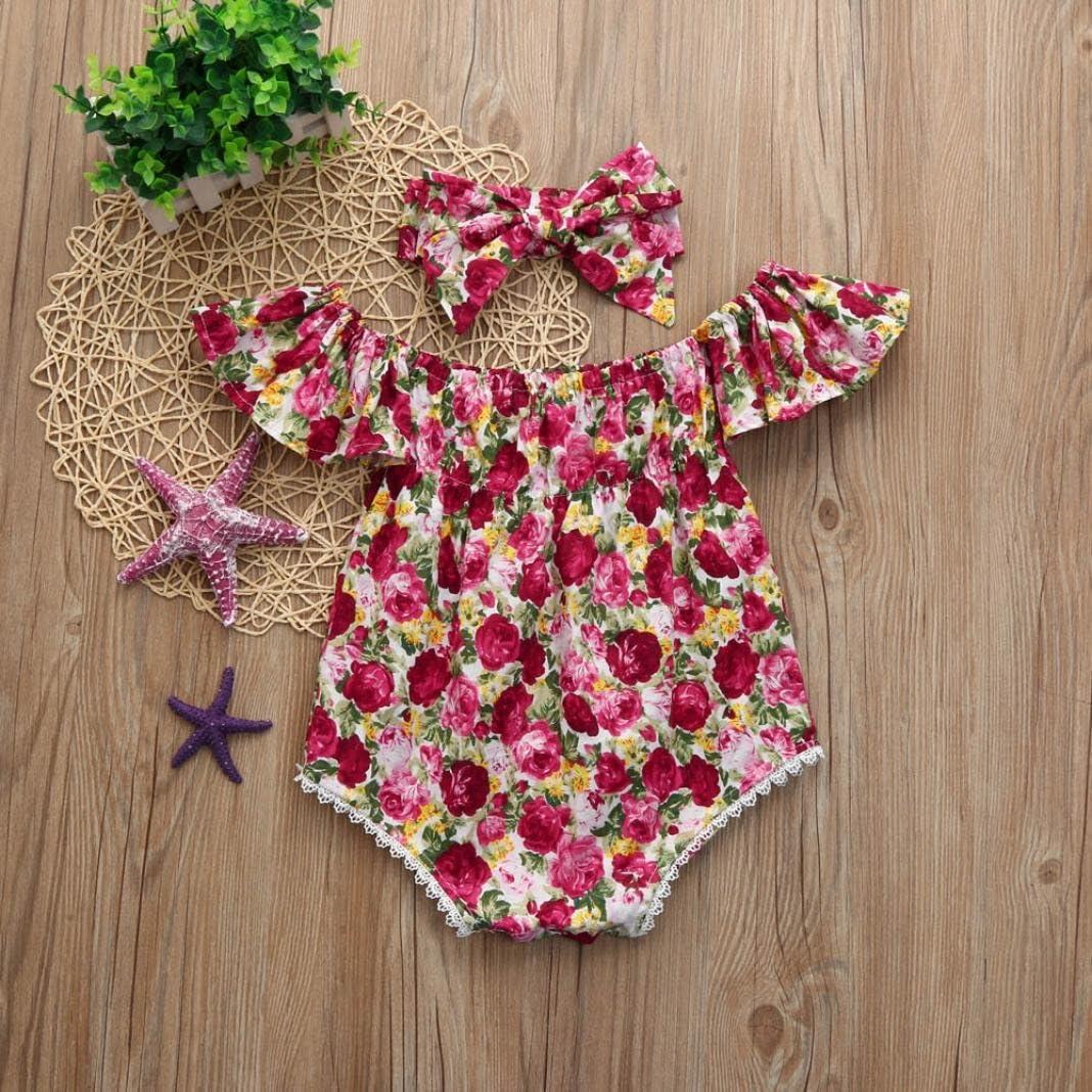 Dragon868 2018 Beb/é reci/én Nacido Chica de Hombro Mameluco Floral y Conjuntos de Diadema Mono Bebe