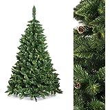 FAIRYTREES Albero di Natale artificiale PINO, Verde naturale, Materiale PVC, vere pigne di abete, incl. supporto, 120cm, FT03-120