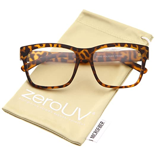 fa3fa57ee7 Casual Bold Square Clear Lens Horn Rimmed Eyeglasses 53mm (Matte Tortoise  Clear)