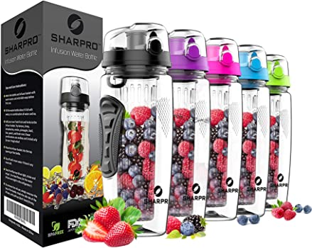 Sharpro 32 OZ Fruit Infuser Water Bottle