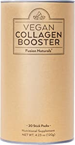 Fusion Naturals: Vegan Collagen Booster - Plant Based Collagen Supplement - 20 Servings - Support Collagen Density, Improve Skin Texture, Promote Joint Health