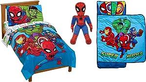 Jay Franco Marvel Super Hero Adventures Avengers Hero Amigos Toddler 6-Piece Bedding Bundle- Includes Bed Set, Pillow Buddy, Nap Mat