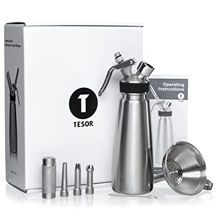 Amazon Tesor Stainless Steel Whipped Cream Dispenser Bundle