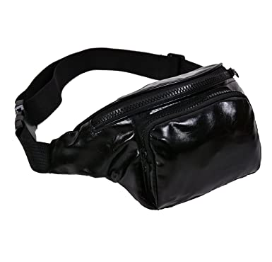 121dfcae408 BFD One metallic shiny bumbag bum bag running belt waste pack fanny pack  runner bag hip pouch for men or women one size fits all (Black Bumbag): ...