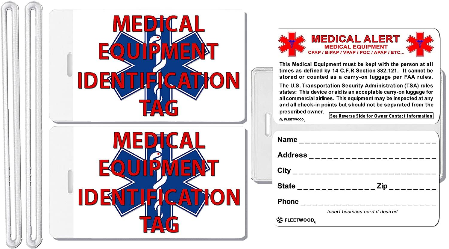 ef395c0db5c2 2x Medical Equipment Identification Luggage Tags TSA Carry-On CPAP BiPAP  Sleep APNEA POC