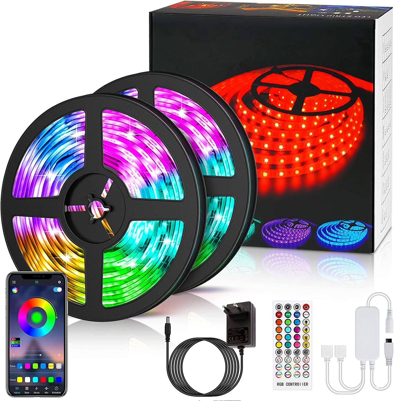LETION Tira LED 10M, Tiras LED Control Bluetooth&RGB 5050 12V con 300 LEDs, Iluminación de ambiente,Impermeable, Control Remoto de 40 Teclas para ...