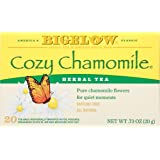 Bigelow Cozy Chamomile Herbal Tea Bags 20-Count Boxes (Pack of 6) Caffeine-Free Individual Herbal Tisane Bags, for Hot Tea or Iced Tea, Drink Plain or Sweetened with Honey or Sugar
