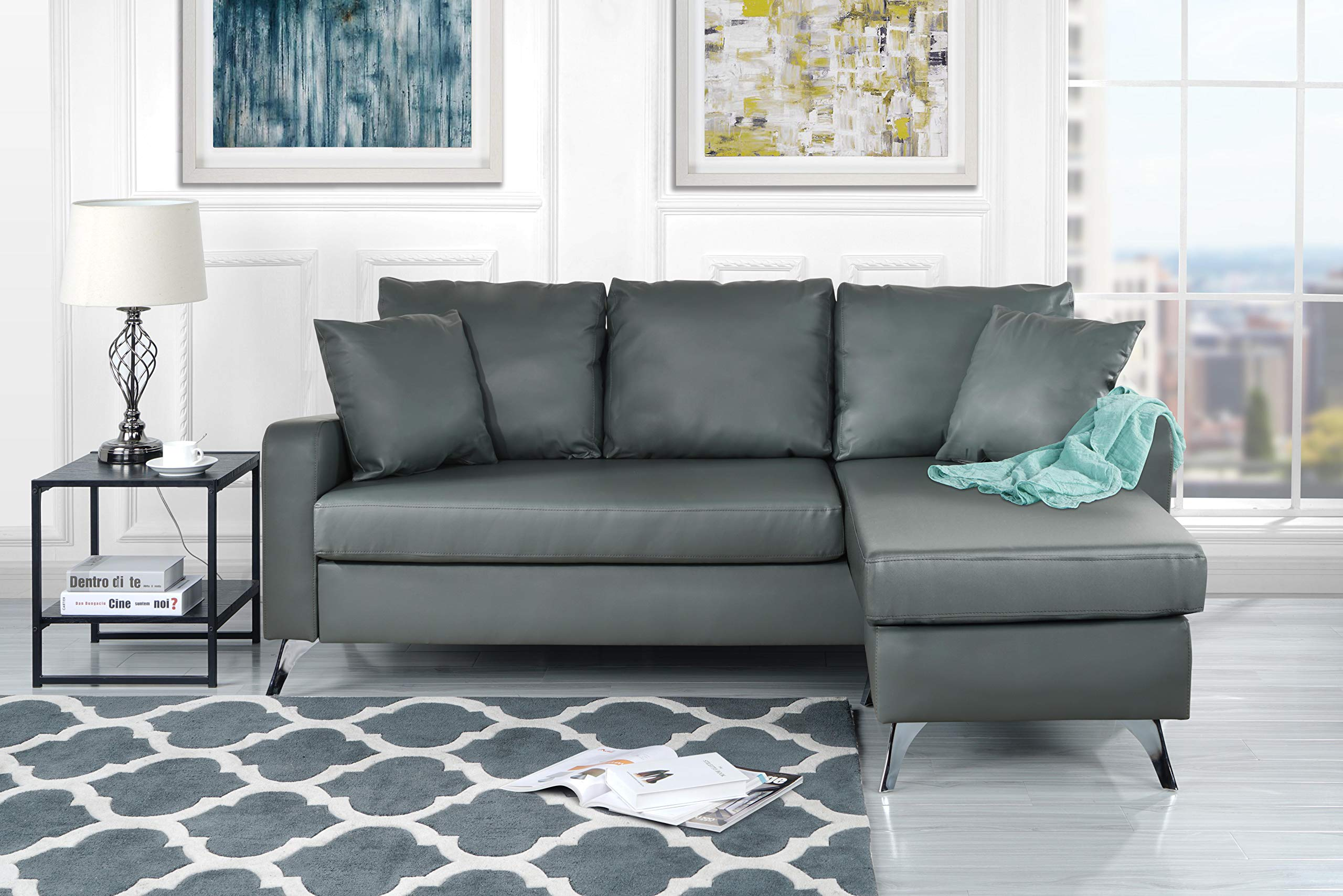 "Divano Roma Furniture Bonded Sectional, Light Grey - Bonded Leather small space reversible chaise sectional sofa Durable bonded leather upholstery with hardwood frame and chrome finish metal legs Measures: 76""W x 54""D x 34""H inches - sofas-couches, living-room-furniture, living-room - 81s1SkcmJYL -"