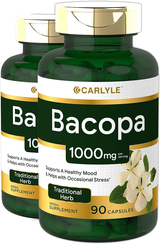 Bacopa Monnieri Capsules   1000 mg   180 Capsules   Non-GMO & Gluten Free   by Carlyle