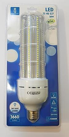 Bombilla LED E27 T5 4U, 38W equivalente a 365W, 3660lm, luz fria 6400K