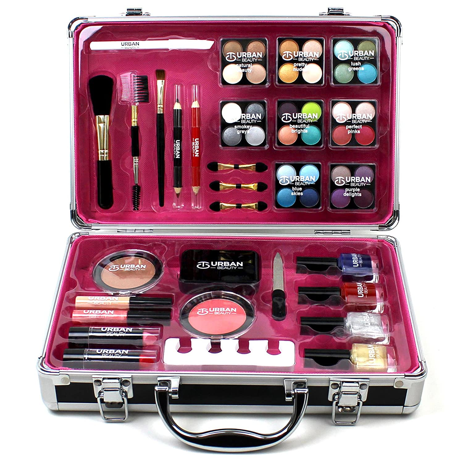 Professional Vanity Case Cosmetic Make Up Urban Beauty Box Travel Carry  Gift 57 Piece Storage Organizer   Eyes Lips Face Nail: Amazon.co.uk: Beauty