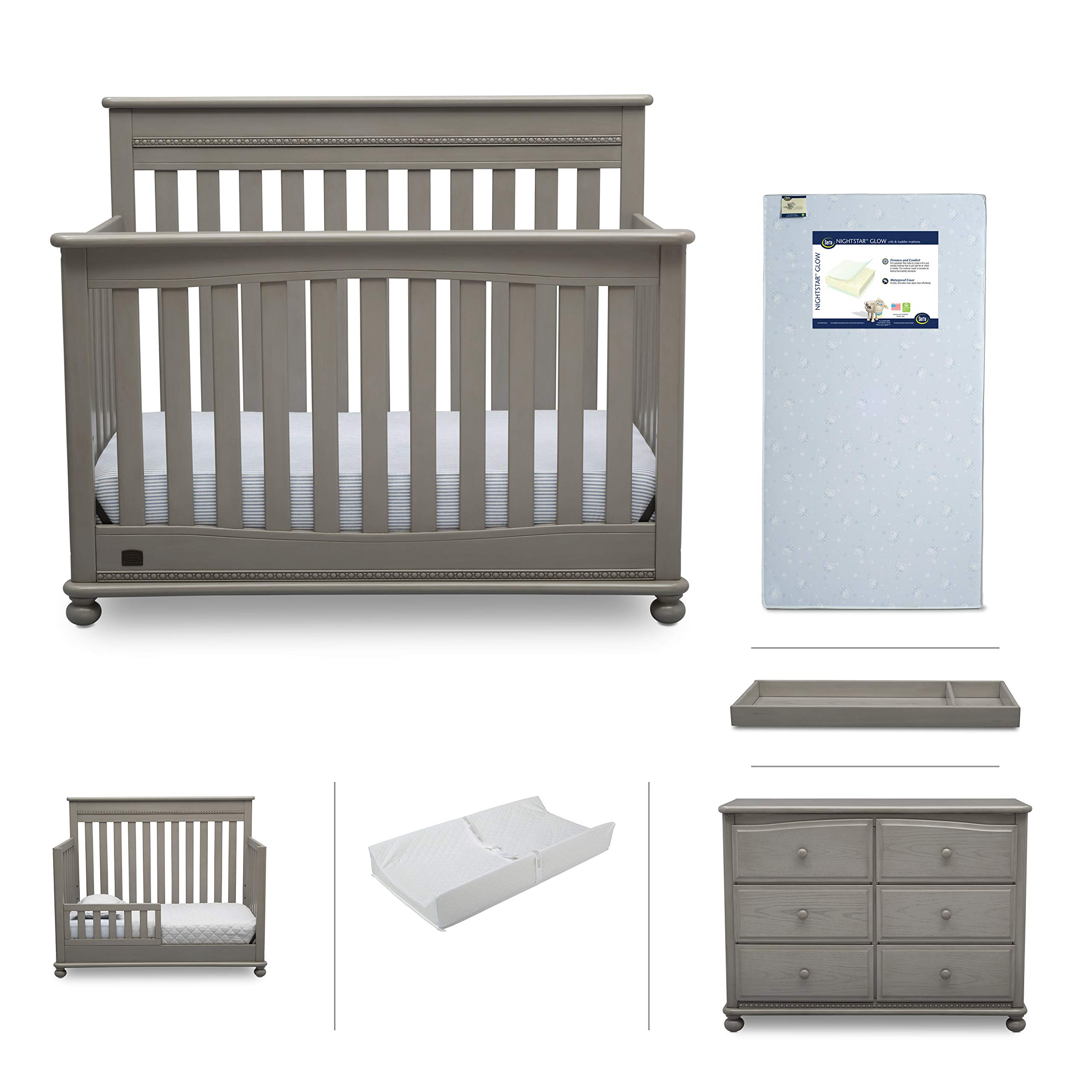 Baby Nursery Furniture Set - 6 Pieces Including Convertible Crib, Dresser, Crib Mattress, Toddler Rail, Changing Top, Changing Pad - Simmons Kids Franklin Storm Grey by Delta Children