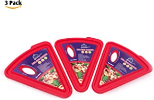 Kitchknacks Pizza Slice Container 3 Pack, Pizza Storage Lunchbox with Holes Leftover Pizza Slices, Microwave and Dishwasher Safe