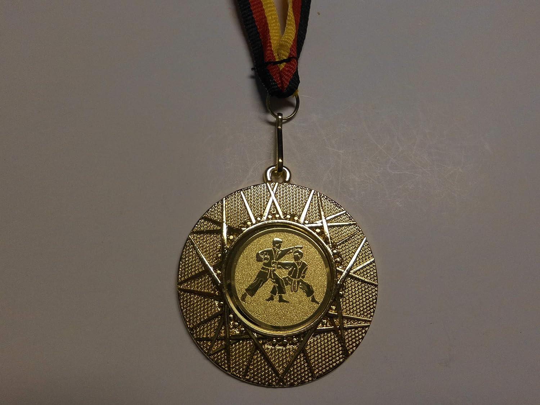 100 x Medaillen aus Metall 50mm inkl mit Einem Emblem Medaillen Band Farbe: Gold Emblem 25mm - Logo e225 Kinder Herren Handball