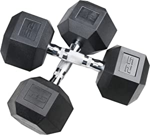 Aimyoo Hex Rubber Dumbbell for Full Body, Home Fitness, Weight Loss, Heavy Dumbbells Choose Weight (5lb, 10lb, 20lb, 30lb, 40 lb, 50lb)