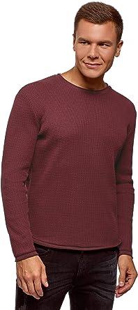 TALLA XL. oodji Ultra Hombre Jersey Texturizado con Cuello Redondo