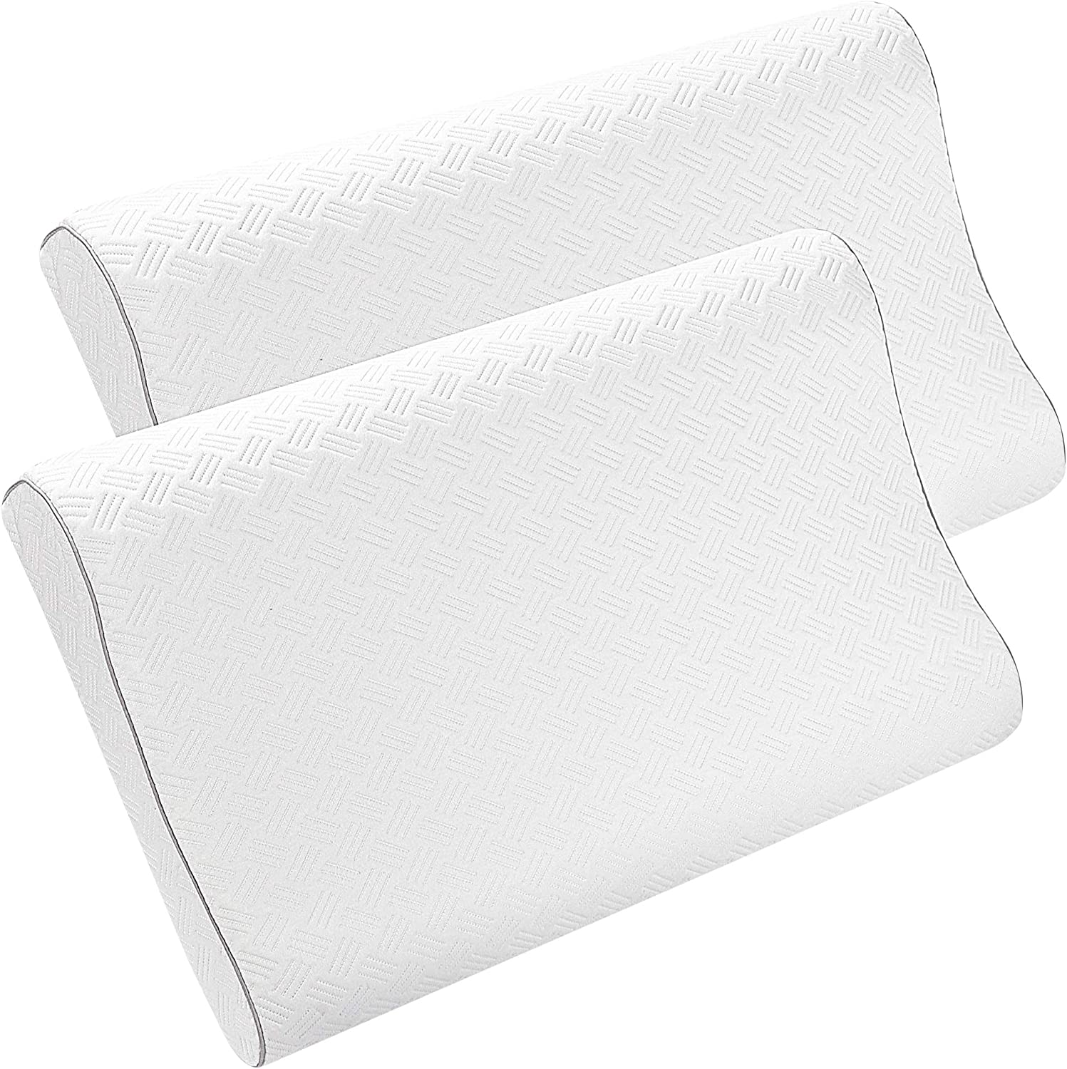 PiccoCasa 2 Pack Cooling Gel Memory Foam Pillow, Cervical Pillow for Neck Pain, Contour Pillow Support for Back, Stomach, Side Sleepers, Pillows for Sleeping, CertiPUR-US, King Size