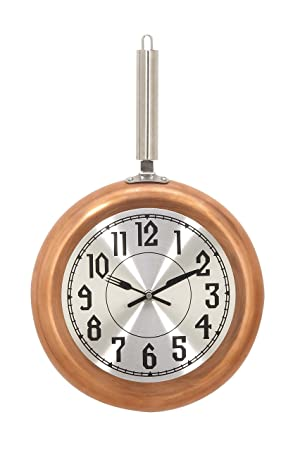 Deco 79 98436 Frying Pan Iron Wall Clock, 19 x 11 , Copper Silver Black