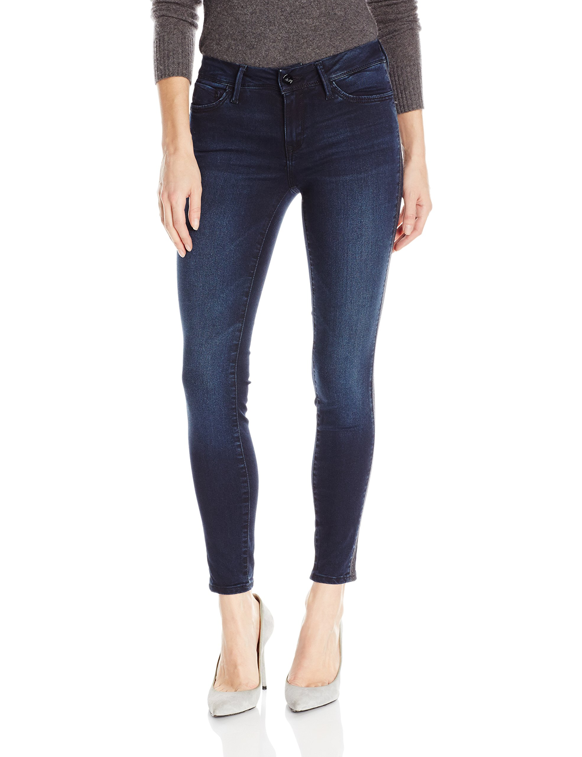 Mavi Jeans Women's Adriana Ankle Mid Rise Super Skinny, Overnight Gold, 24
