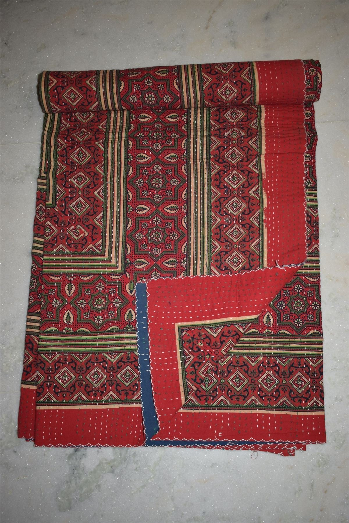 Ajrakh Print Indian Kantha Quilt Throw Bedspread, Reversible kantha 20