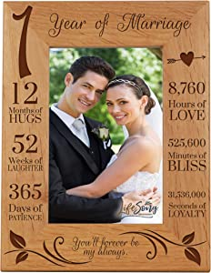 LifeSong Milestones 1st Anniversary Picture Frame 1 Year of Marriage - One Year Wedding Keepsake Gift for Parents Husband Wife him her - You'll Forever Be My Always (7.5x9.5)