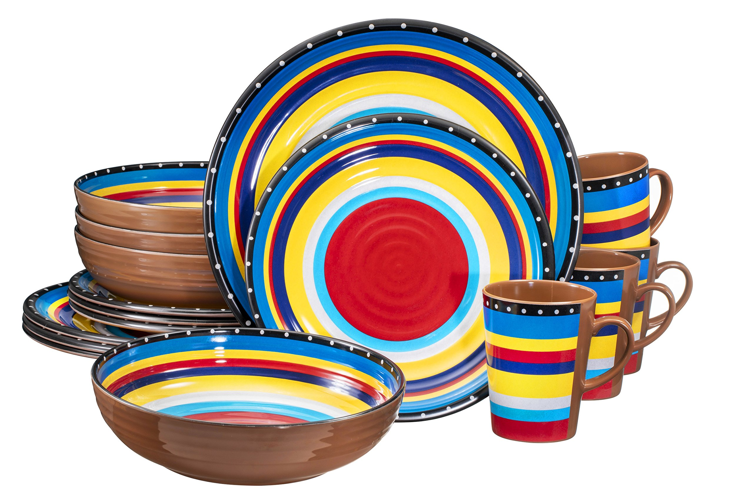 Melamine Dinnerware Set, 16 Piece, Service for 4