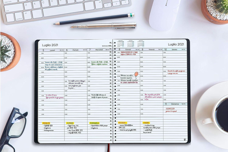 A4 Intervalli di 30 Minuti Calendario Annuale con Note Diario 2021 di SmartPanda Design Semplice per Stimolare la Produttivit/à Copertina Morbida Agenda 2021 Settimanale in Italiano