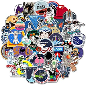 NASA Stickers for Kids, Galaxy Graffiti Stickers Personalized Laptop Skins Computer Vinyl Decals for Hydro Flask Water Bottles Bike iPad Suitcase, Best Gift Reward for Boys Girls 50 Pieces