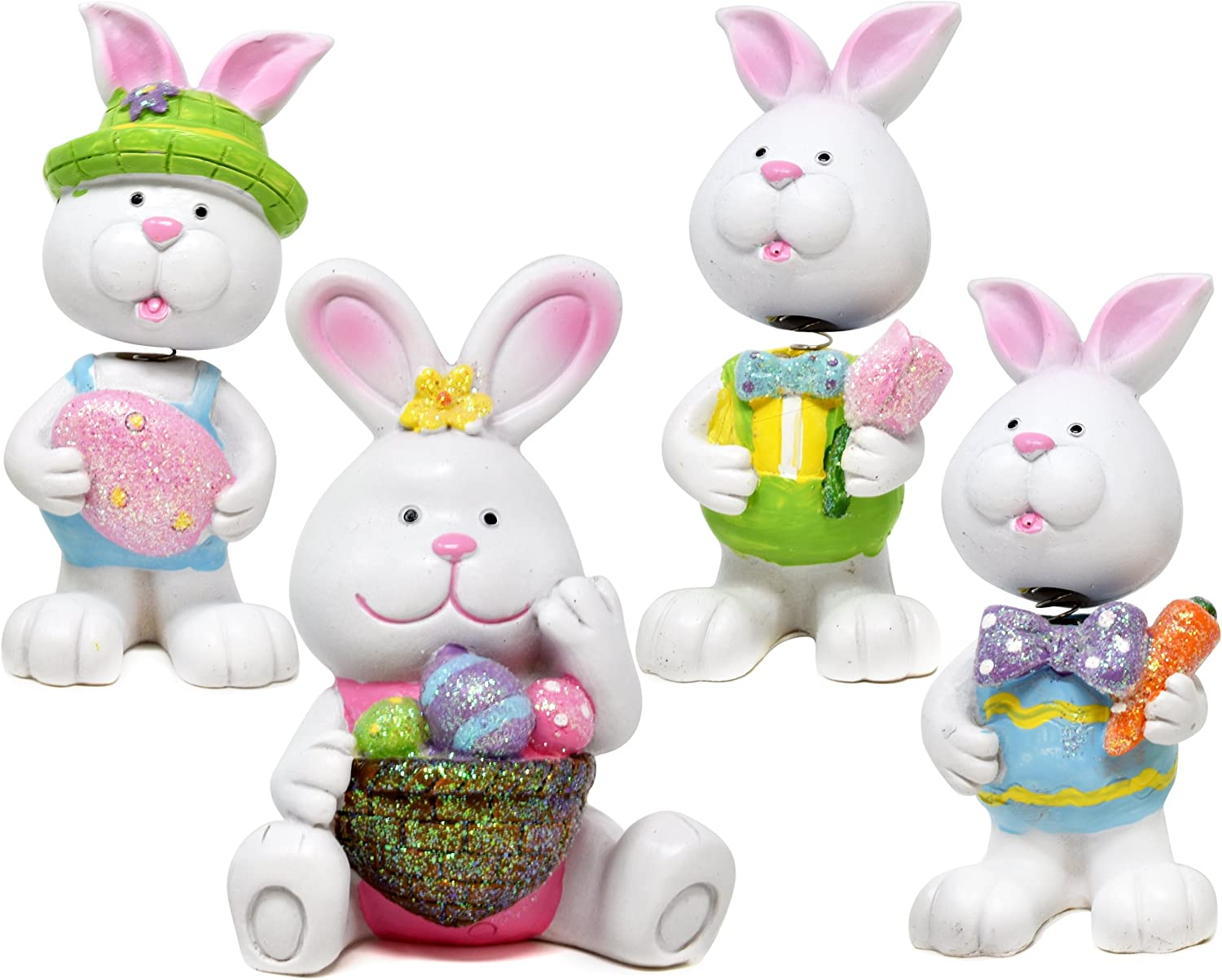 Amazon Com Easter Bunny Figurine Decor Table Topper Spring Holiday Sculpture Decoration Table Top Decorative Centerpiece Bunnies For Home Den 4 Piece Whimsical Party Decorations Room Decor Kitchen Dining