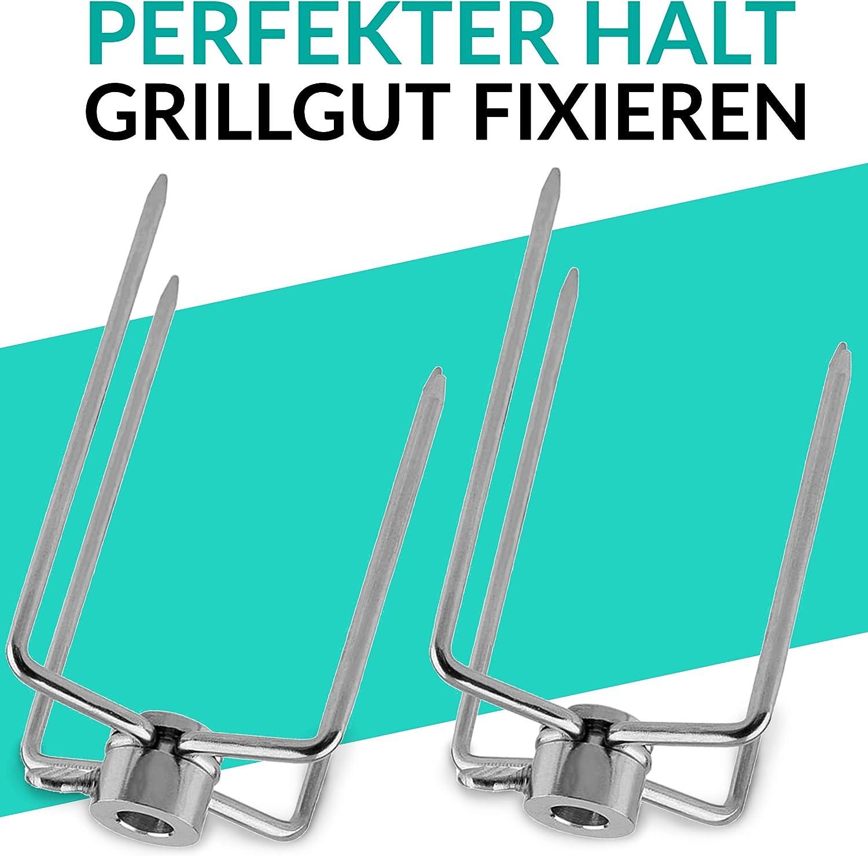 Fleischklammer Für Drehspieß Grillgut 2er Set Edelstahl GrillgabelnFleischnadeln