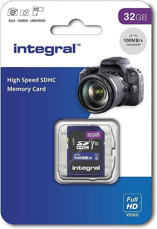 Integral 32GB SD Tarjeta de Memoria SDHC de Alta Velocidad hasta 100MB/S V10 UHS U1