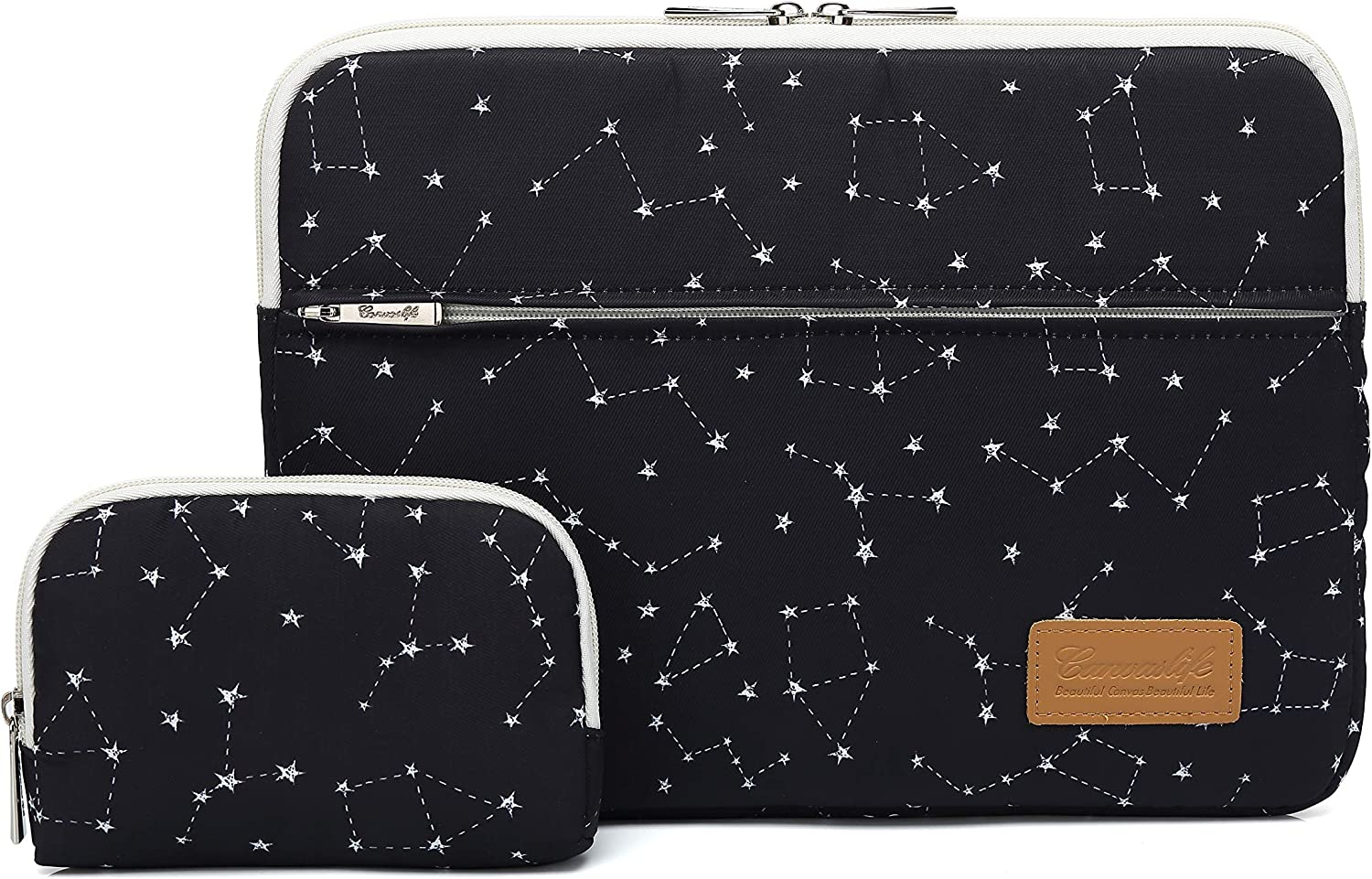 Canvaslife Black Star Pattern 360 Degree Protective Waterproof Laptop Sleeve 15 Inch 15 Case and 15.6 Laptop Bag
