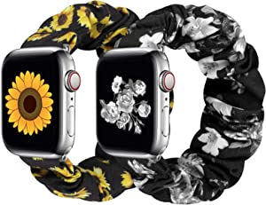 Huishang 2 PCS Scrunchie Apple Watch Band for Women, 38mm 40mm 42mm 44mm Apple Watch Bands, Cute Apple Watch Bands for Series 5/4/3/2/1 (S-42/44 Sun+Silver)