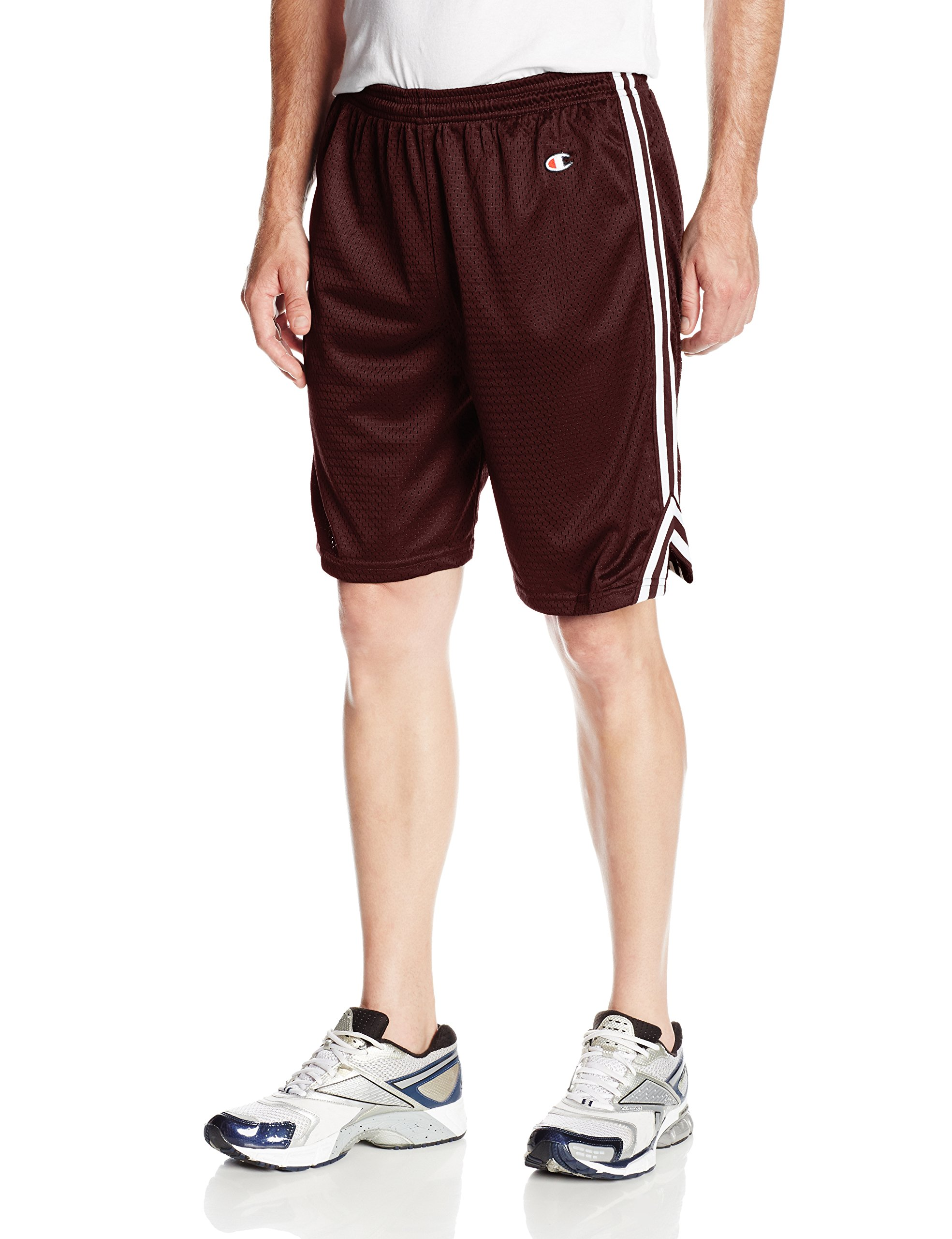 Champion Men's Double Dry Lacrosse Shorts, Maroon/White, Small