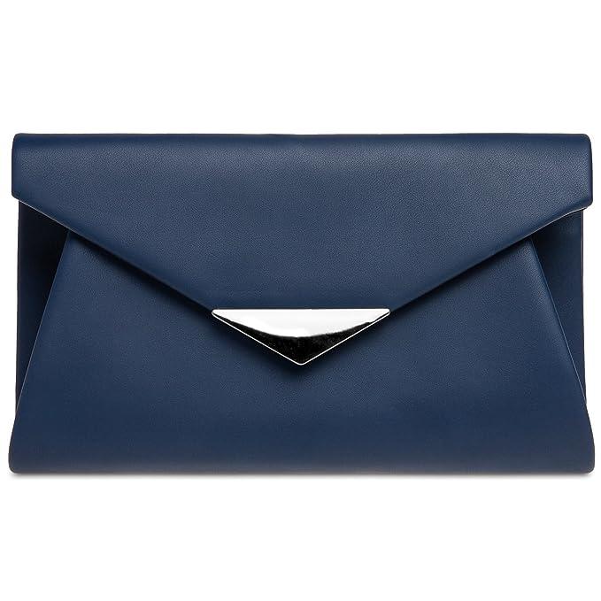 CASPAR TA363 XL Bolso de Mano Fiesta Elegante para Mujer/Clutch con Aplicación Metálica, Color:azul oscuro;Tamaño: Talla Única: Amazon.es: Ropa y accesorios