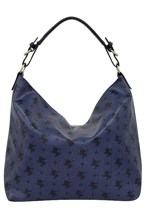 SARA Mujer Bolso de mano, bolsa de hombro, Shopper PU 1711, color Azul, talla XXL: Amazon.es: Zapatos y complementos