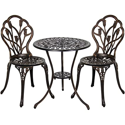Vanteriam Outdoor Patio Furniture Cast Aluminum 3 Piece Bistro set in Bronze- Two Chairs and  sc 1 st  Amazon.com & Amazon.com: Vanteriam Outdoor Patio Furniture Cast Aluminum 3 Piece ...