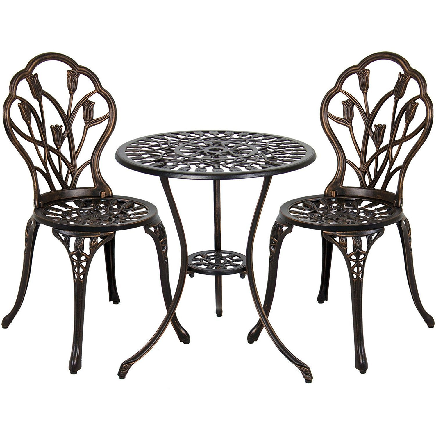 Vanteriam Outdoor Patio Furniture Cast Aluminum 3 Piece Bistro Set in Bronze- Two Chairs and One Table w/Umbrella Hole (Tulip Design)