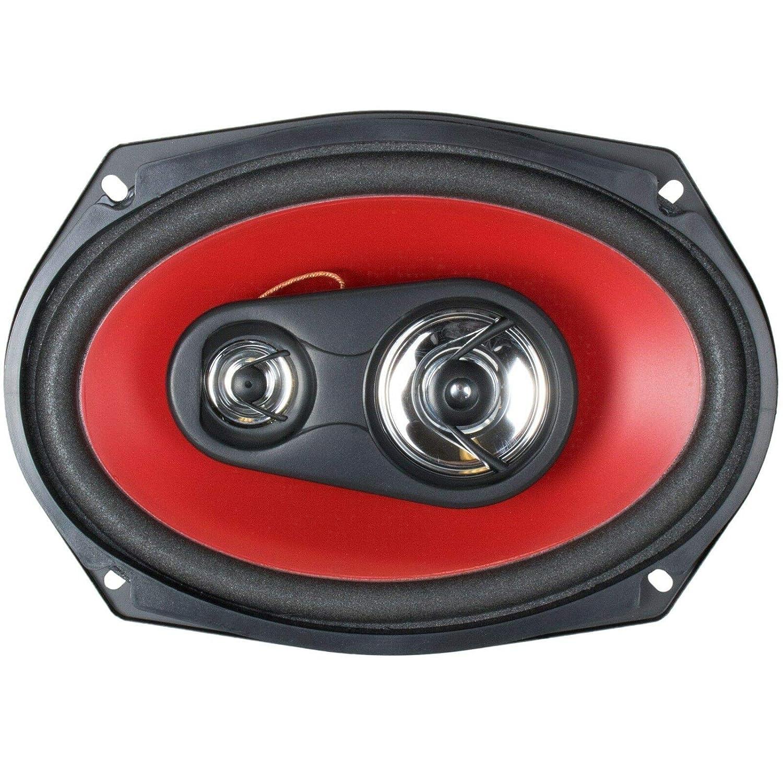 AB6970 Pair of Audiobank 6x9 700 Watt 3-Way Red Car Audio Stereo Coaxial Speakers 2 Speakers