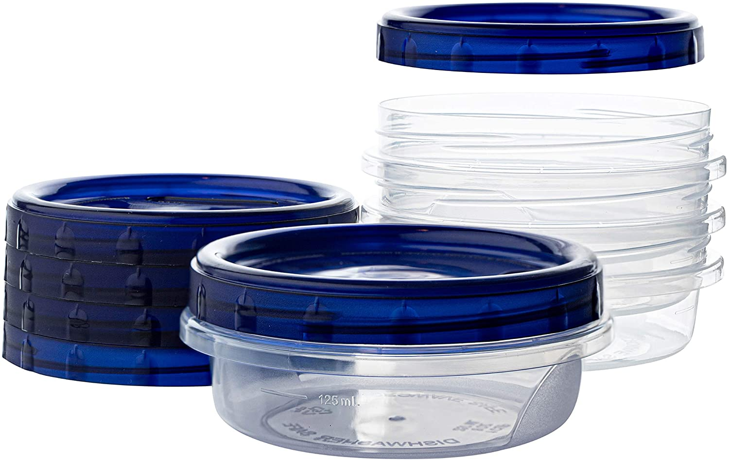 [8 oz 4 Pack] Twist Top Deli Containers Clear bottom With blue Top Twist on Lids Reusable, Stackable, Food Storage Freezer Container