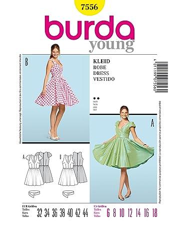 Burda Schnittmuster 7556 Kleid Gr. 32-44: Amazon.de: Küche & Haushalt